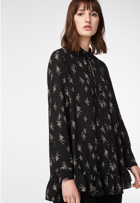 Printed Crepe Frilled Hem Blouse