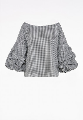 Checked Frill Off Shoulder Top