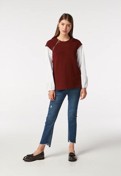 Mixed Fabric Knitted Blouse