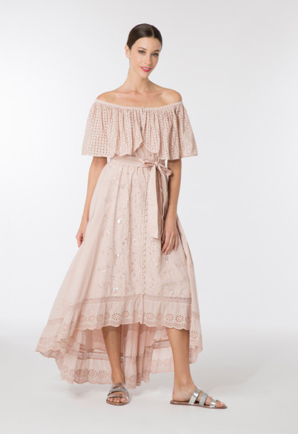 Off Shoulder Schiffli Dress