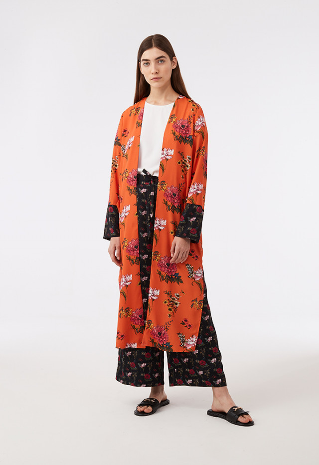 Printed Open Front Outerwear With Slits