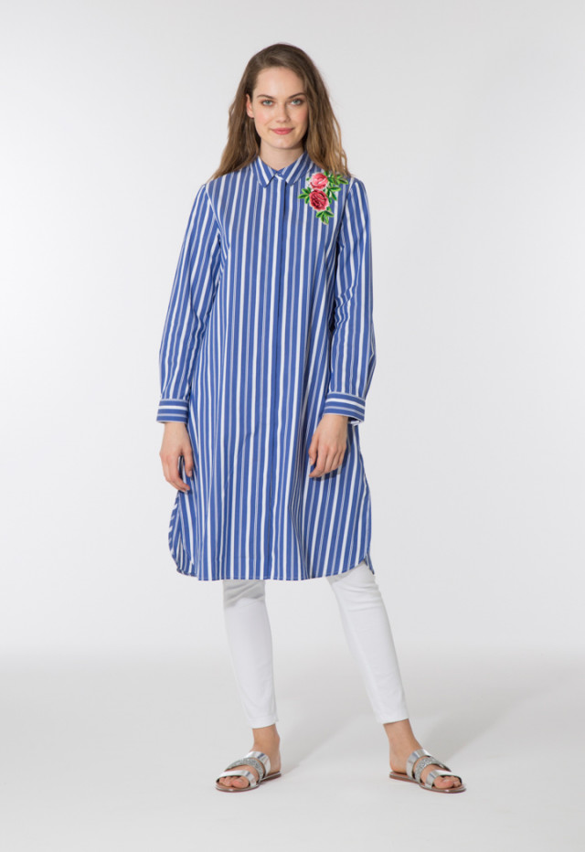Indigo Striped Midi Shirt Dress