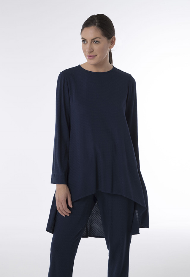 Asymmetric Textured Fabric Blouse