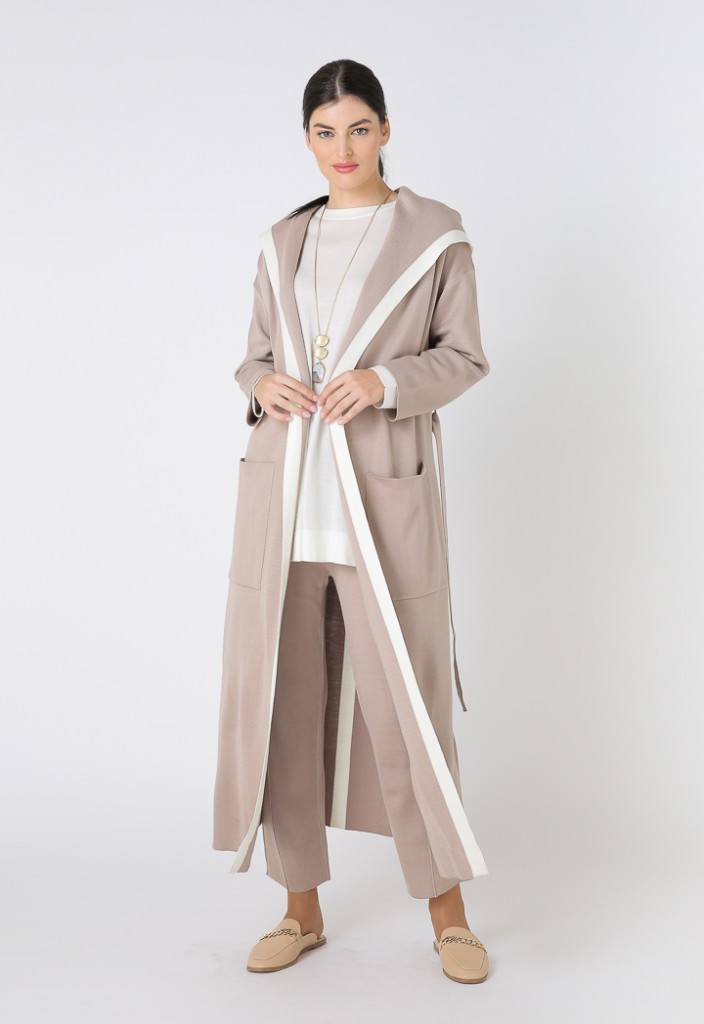 Knitted Color Block Hooded Maxi Cardigan