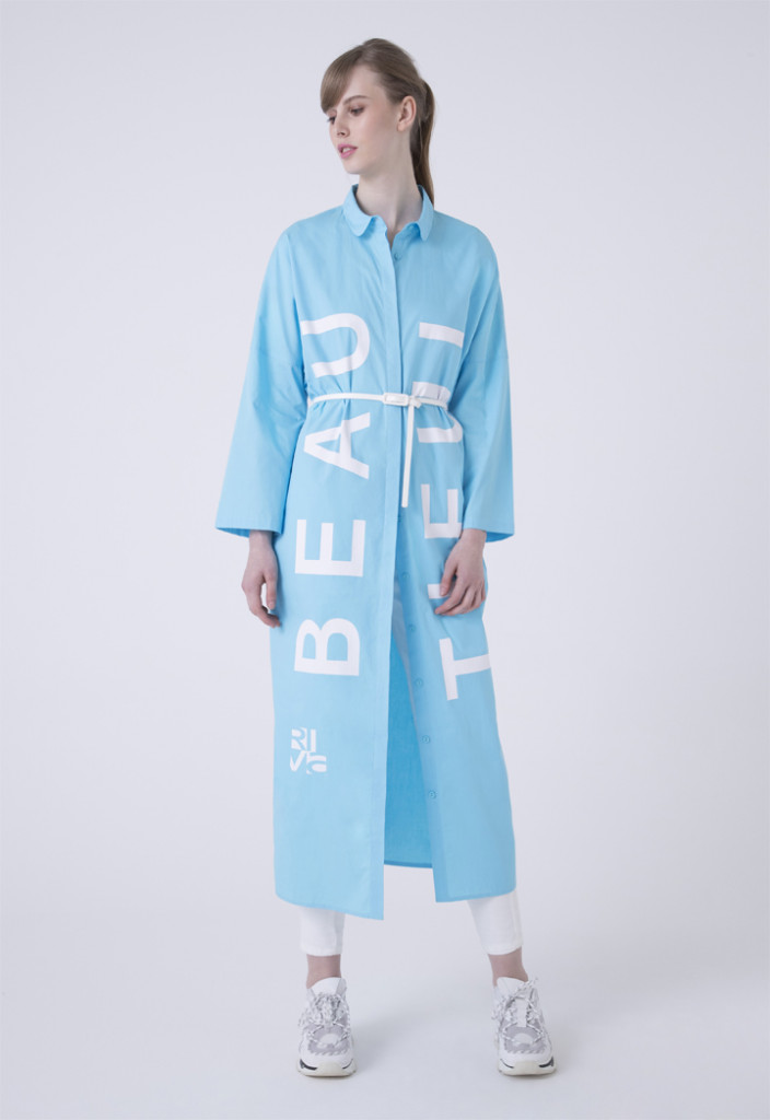 Oversized Letter Print Shirt Dress