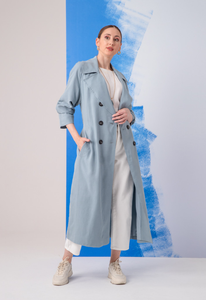 Double Breasted 6-Button Notched Lapel Trench Coat