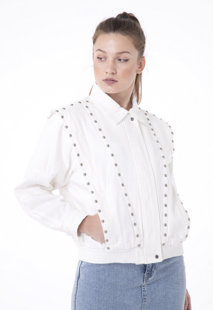 Studded White Denim Jacket