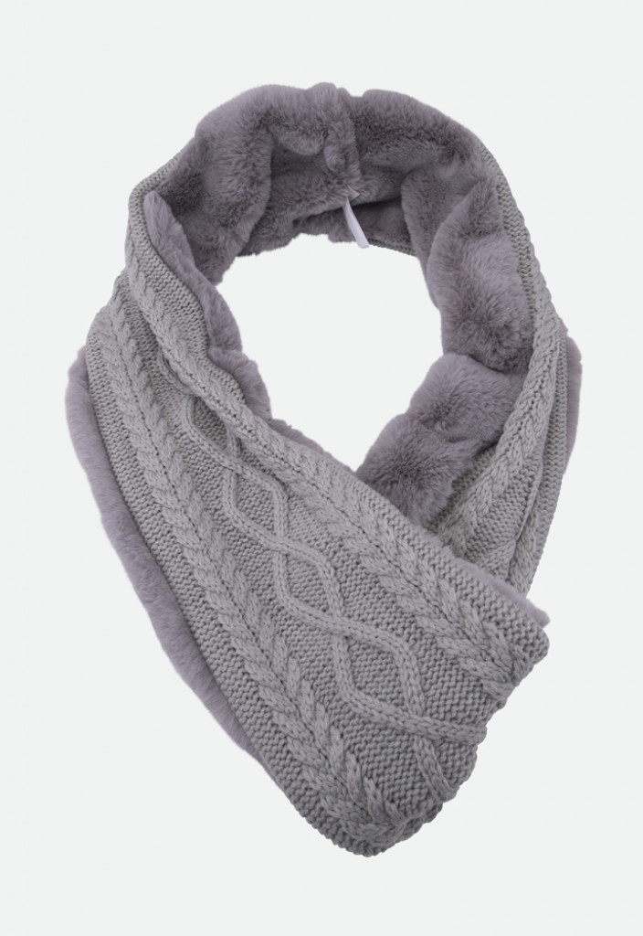 Faux Fur And Knit Infinity Scarf
