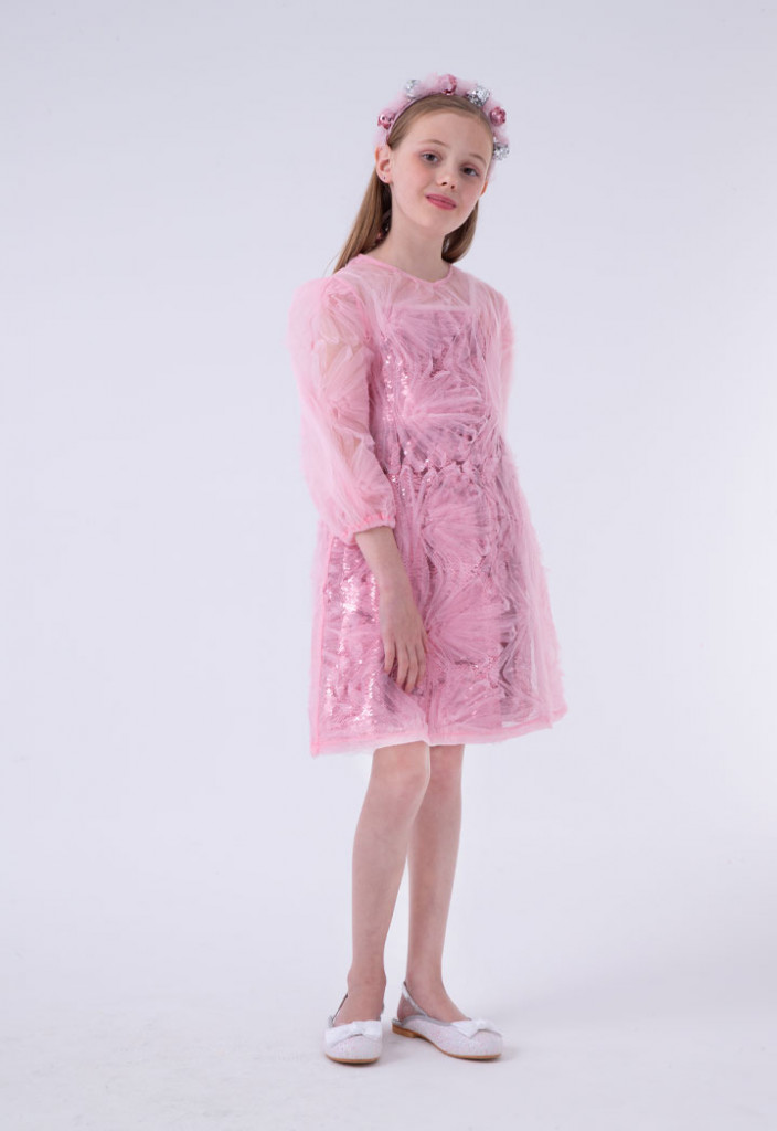 Patterned Organza Sequin Dress