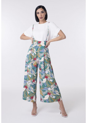Ankle-Length Floral Print Pattern Overalls
