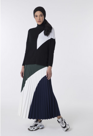 Colorblock Pleated Long Skirt