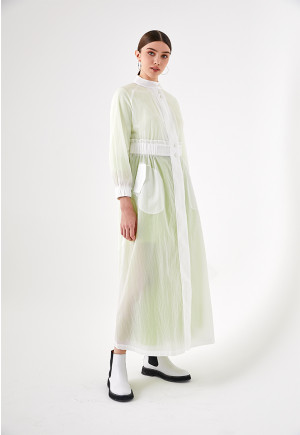 White Crinkle Long Outerwear
