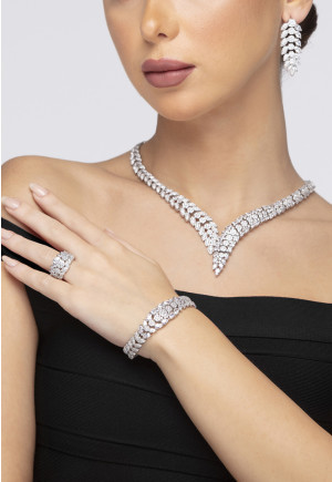 Pave Crystal Jewelry Set