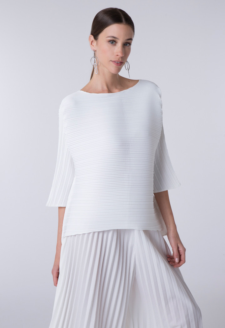 Electric Pleated White Blouse