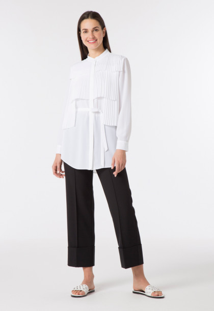 Shirt With Layered Pleats Panel