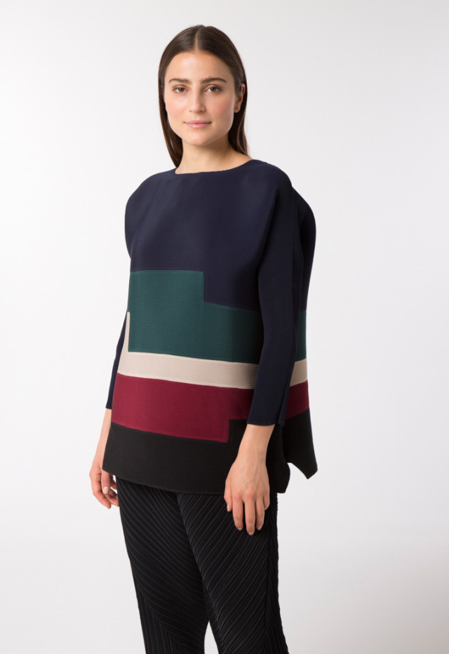 Colorblock Electric Pleated Blouse