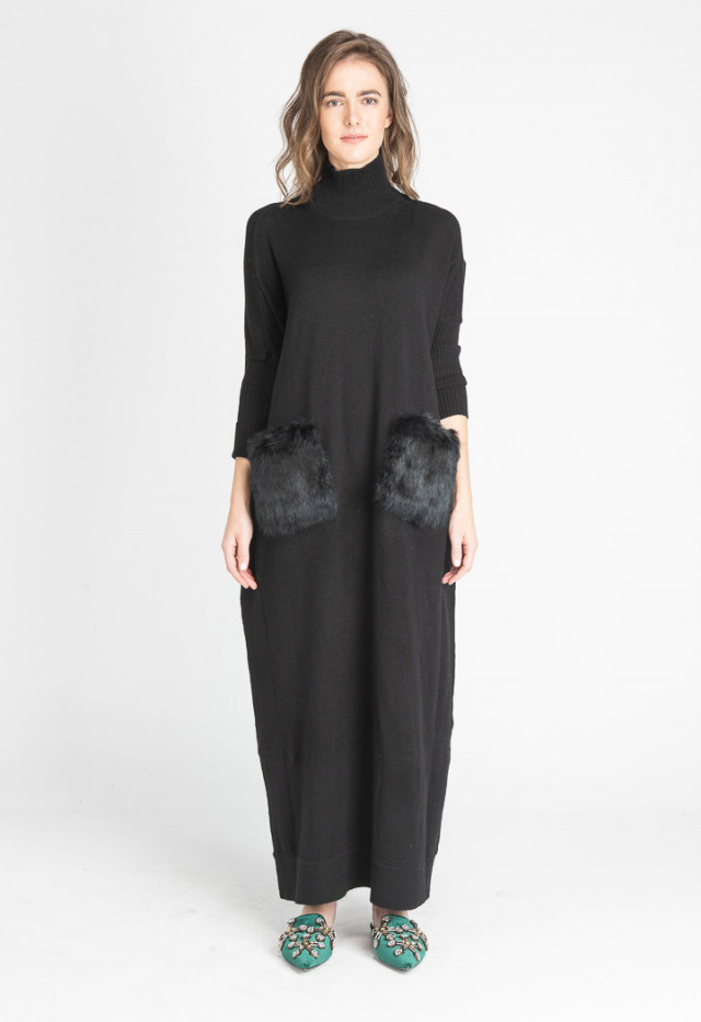 Black Ribbed Knitted Maxi