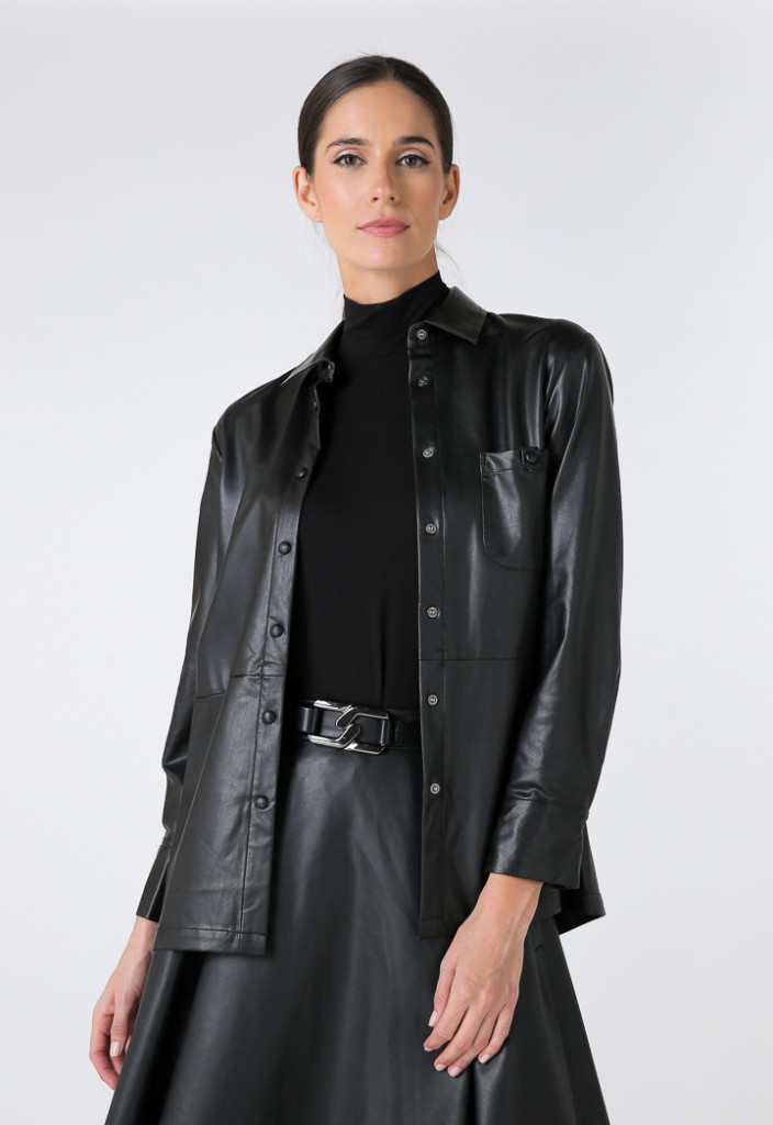 Faux Leather Long Sleeves Shirt