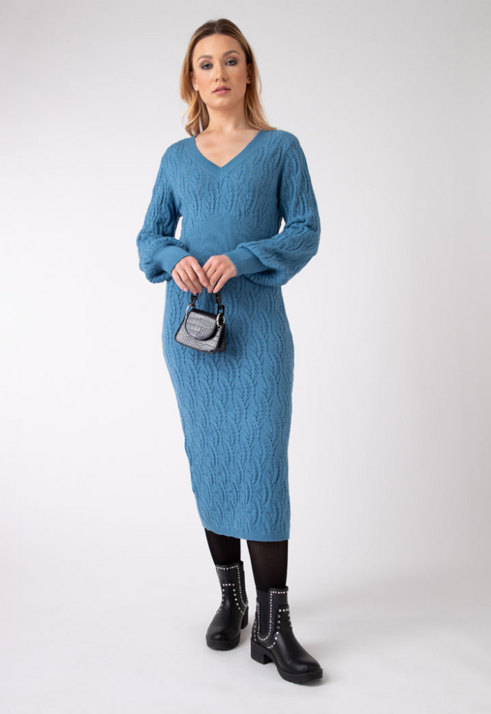 Cable Knit Long Solid Dress