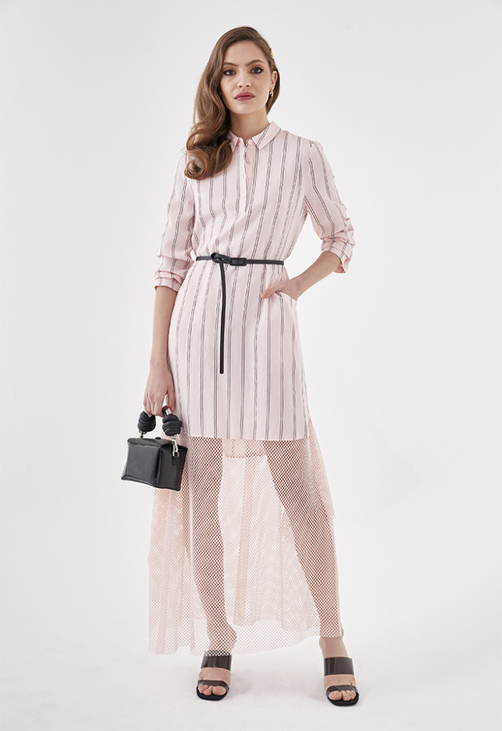 Mesh Hem Striped Shirt Dress