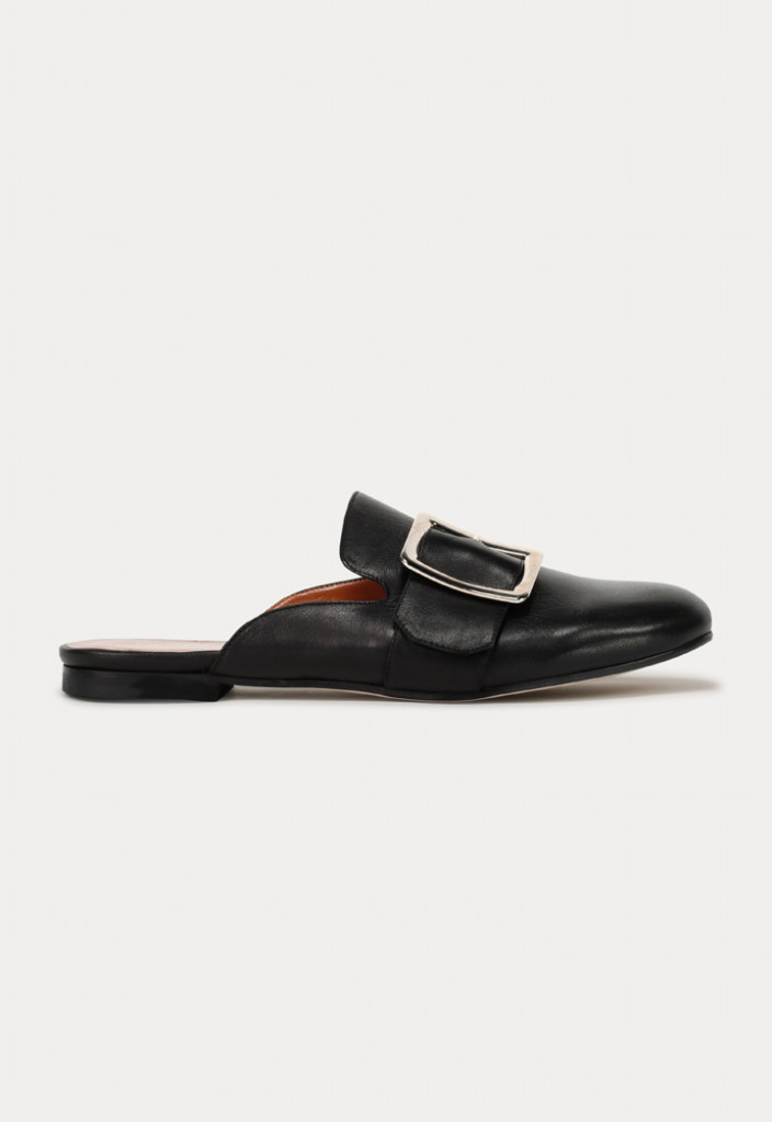 Round Toe Buckled Flat Mules