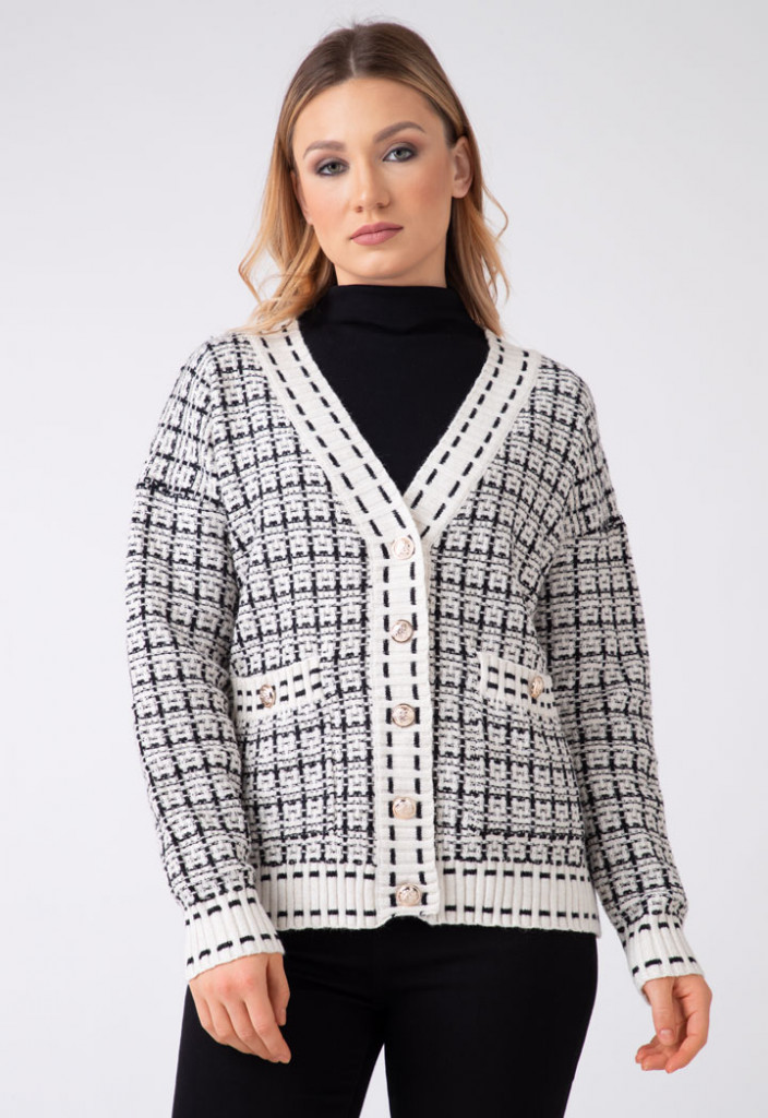 Knitted Running Stitch Contrast Cardigan