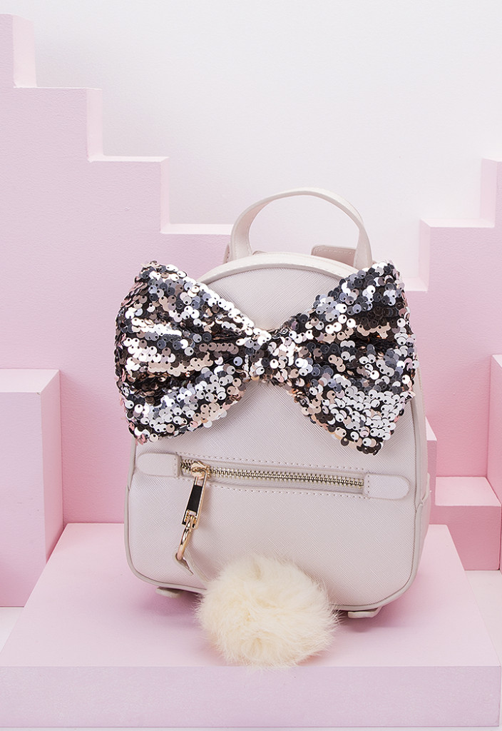 Mini Sequin Bow Backpack