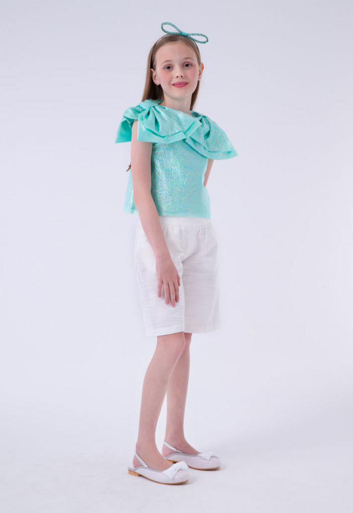 Bow Accent Blouse And Short Combo