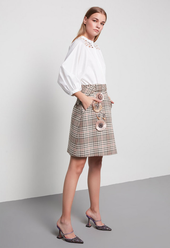 Floral Accent Plaid Skirt