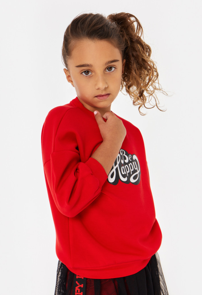 Be Happy Text Print Pullover Top