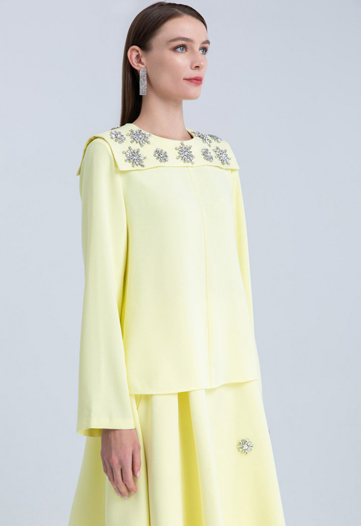 Clear Crystal Embellished Long Sleeve Blouse