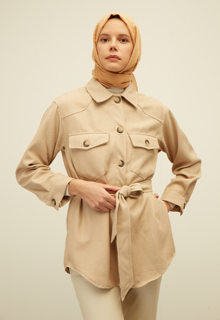 Belted Long Sleeve Patch Pocket Shirt