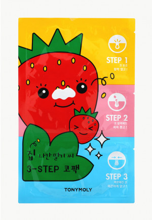 Tony Moly, Runaway Strawberry Seeds, 3-Step Nose Pack