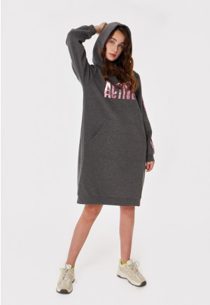 Text Print Pull Over Hoodie Dress