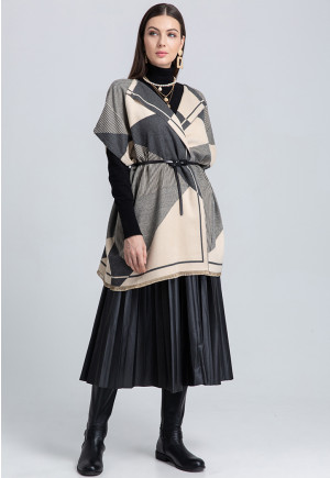 Mixed Graphic Print Open Front Cape (Free Size)