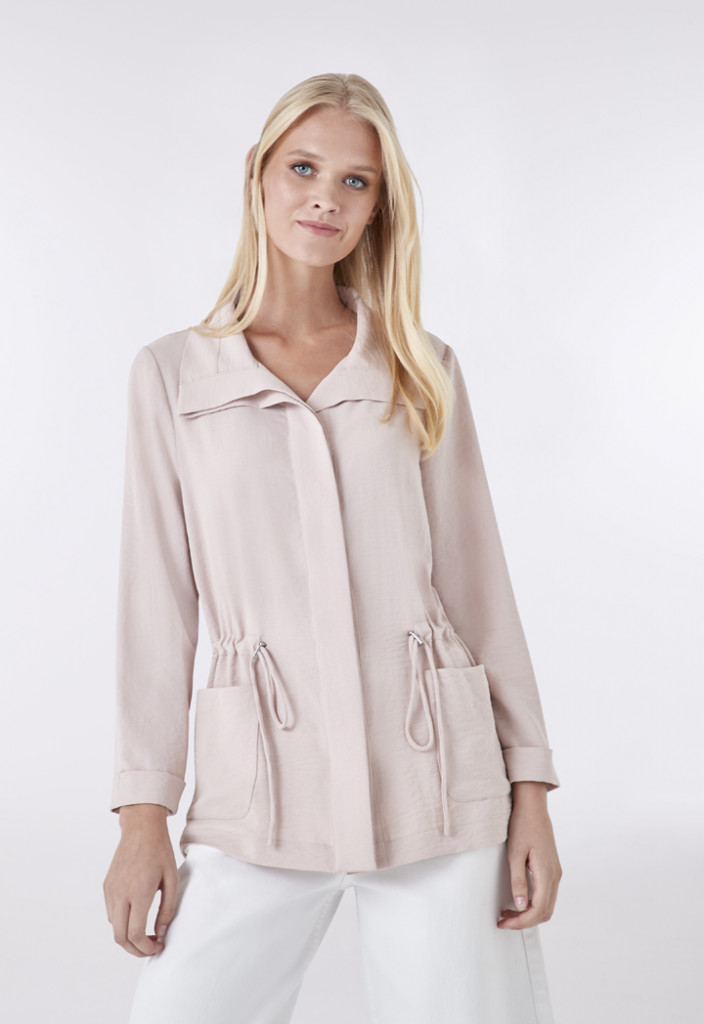 Gathered Waist Solid Outerwear